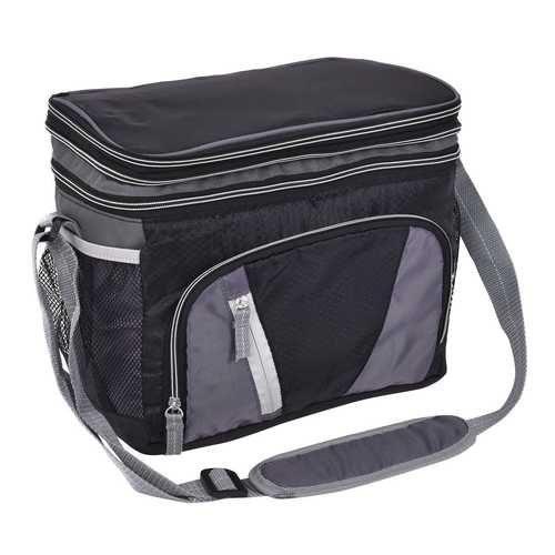 12 Can Double-layer Cooler Bag Ice Pack Lunch Container Zipper Shoulder Straps