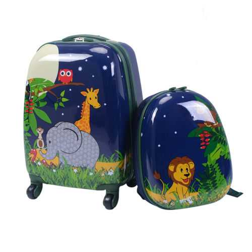 "2 pcs 12"" 16"" Dark Blue Kids Suitcase Backpack School  Luggage Set"