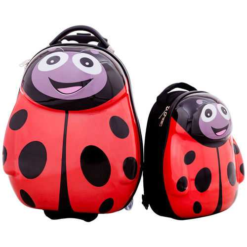 2 pcs Beetle Shaped Kids School Luggage Suitcase & Backpack