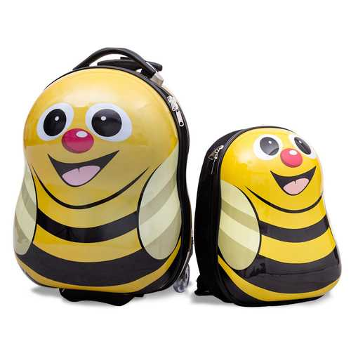 2 pcs Bee Shaped Kids School Luggage Suitcase & Backpack