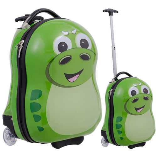 2 pcs Dinosaur Shaped Kids School Luggage Suitcase & Backpack