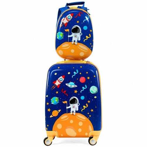 2PC Kids Luggage Set Rolling Suitcase & Backpack-Navy - Color: Navy