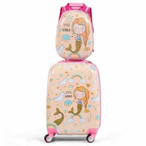 2PC Kids Luggage Set Rolling Suitcase & Backpack-Pink - Color: Pink