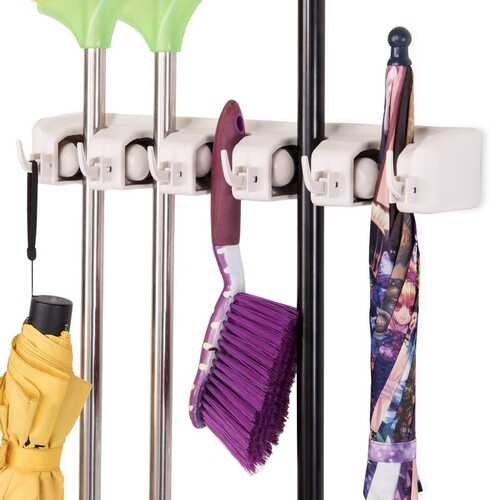 Wall-mounted Mop Holder Hanger with 5 Positions -Dark Gray - Color: Dark Gray