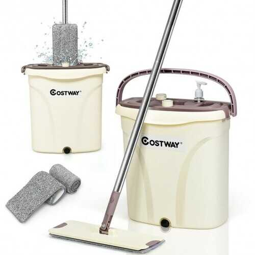 Flat Squeeze Mop and Bucket Set with Microfiber Pad Hand-Free Wringing