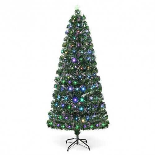 5' / 6' / 7' Fiber Optic Artificial Christmas Tree with LED Lights-6'