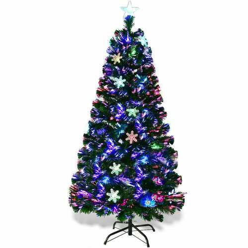 4'/5'/6'/7' Multi-Color Lights Artificial Christmas Tree w/ Snowflakes-7'
