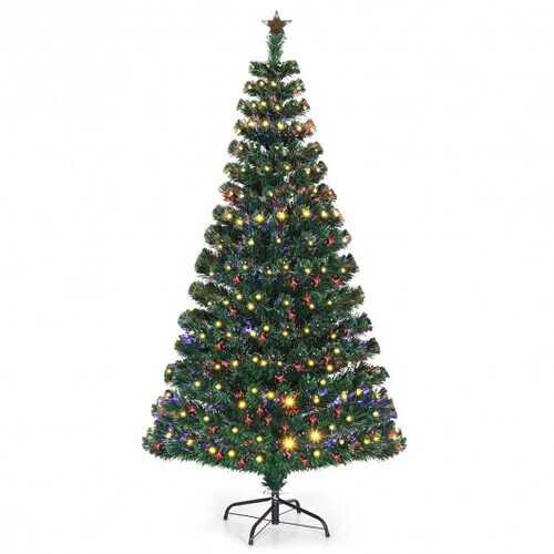 5'/6'7' LED Fiber Optic Artificial Christmas Tree w/ Top Star-6' - Size: 6'