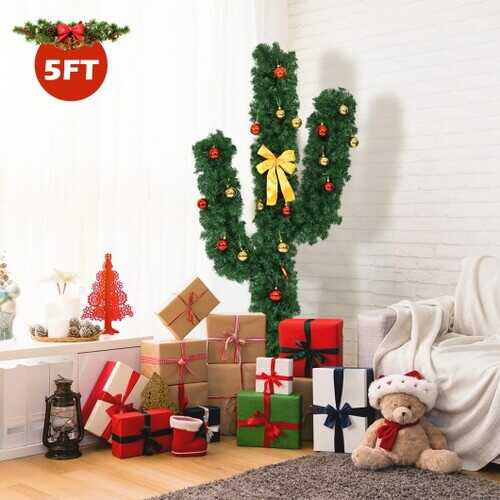 5' / 6' / 7' Artificial Cactus Christmas Tree with Lights-5'