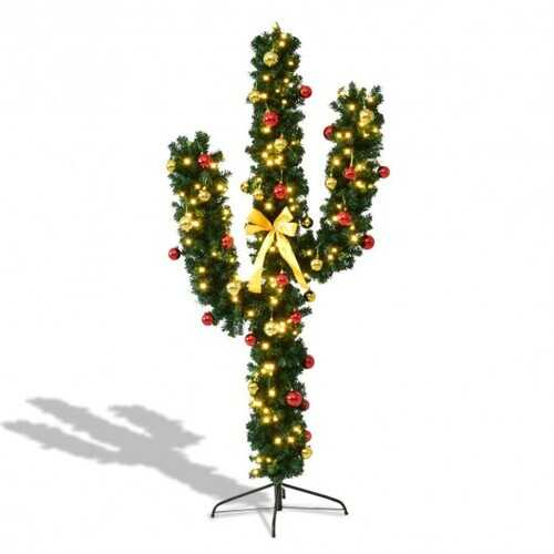 5' / 6' / 7' Artificial Cactus Christmas Tree with Lights-7' - Size: 7'