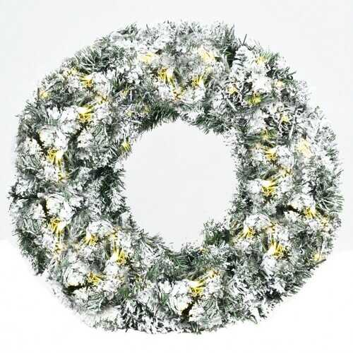 "24"" Artificial Snow Flocked Christmas Pine Wreath with LED Lights"