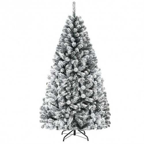6 ft Artificial Snow Decorated Flocked Hinged Christmas Tree with Metal Stand