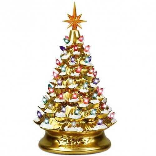 "15"" Pre-Lit Hand-Painted Ceramic National Christmas Tree-Golden - Color: Golden"
