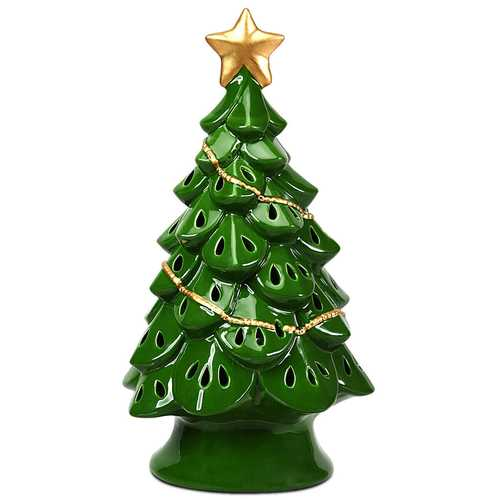 "11.5"" Pre-Lit Ceramic Hollow Christmas Tree with LED Lights"