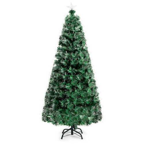 5' / 6' Pre-Lit Fiber Double-Color Lights Optic Christmas Tree-6' - Color: Green - Size: 6'