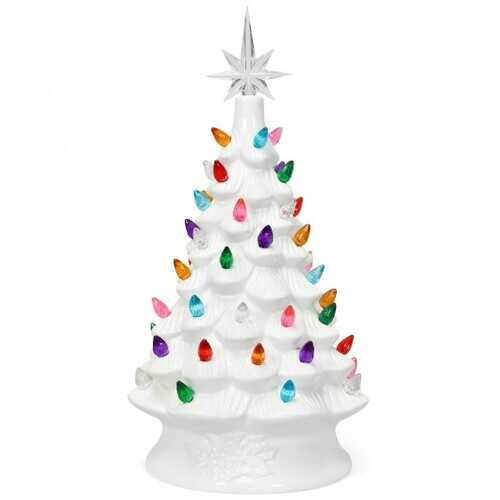 "14"" Pre-Lit Hand-Painted Ceramic Tabletop Christmas Tree"