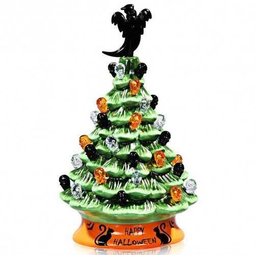 11.5'' Pre-Lit Ceramic Hand-Painted Tabletop Halloween Tree