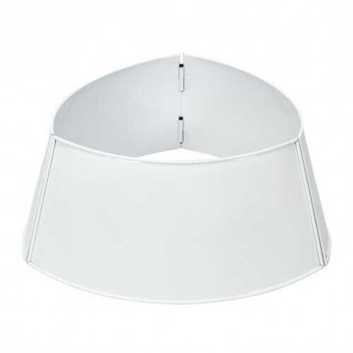Galvanized Metal ChristmasTree Collar Skirt Ring Cover Decor-White - Color: White