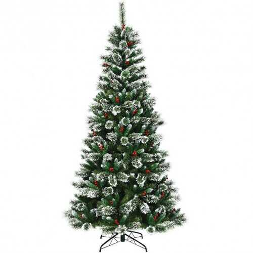8 ft Snow Flocked Artificial Christmas Hinged Tree
