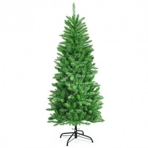 5 ft PVC Hinged Pre-lit Artificial Fir Pencil Christmas Tree with 150 Warm White UL-listed Lights-5' - Size: 5'