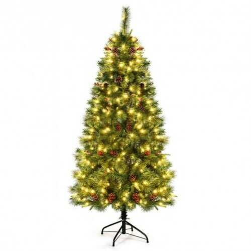 6 ft Pre-lit Artificial Hinged Christmas Tree with LED Lights-6 ft - Size: 6'
