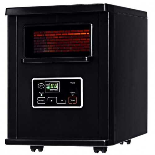 1500 W Electric Portable Remote Infrared Heater Black