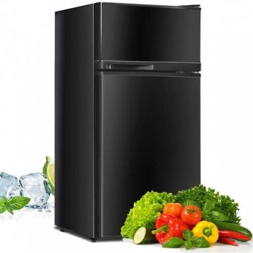 2 Doors Cold-rolled Sheet Compact Refrigerator-Black