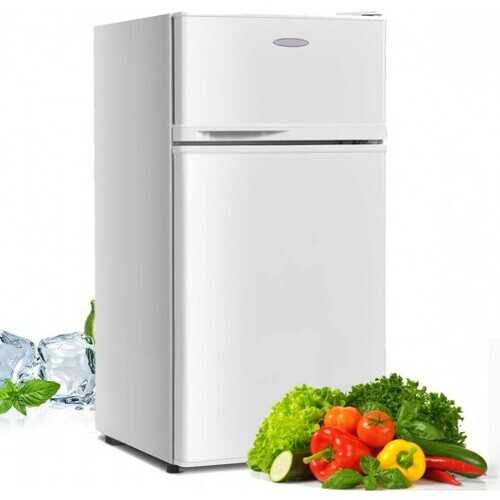 2 Doors Cold-rolled Sheet Compact Refrigerator-White