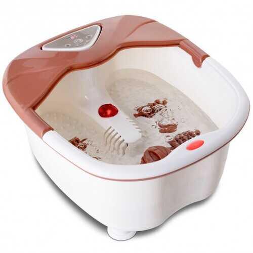 LCD Display Temperature Control Foot Spa Bath Massager-Brown - Color: Brown