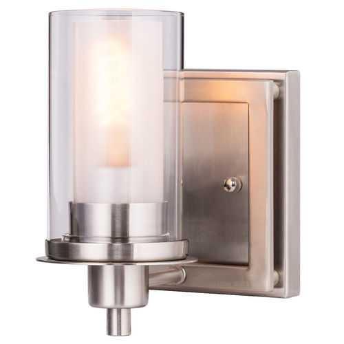 Wall Mounted One - Light  Brushed Nickel Bulb Vanity Light