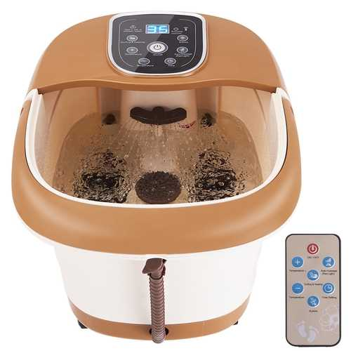 All-in-One Tem/Time Set Heat Bubble Vibration Foot Spa Massager with 6 Massage Rollers