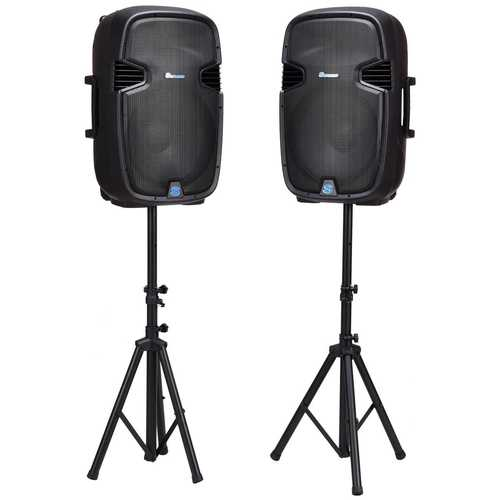 """Dual 15"""" 2-way 3000 W Powered Speakers with Bluetooth"""