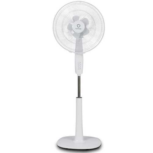"Fantask 16"" 3 Speed Double Blades Oscillating Pedestal Fan-White - Color: White"