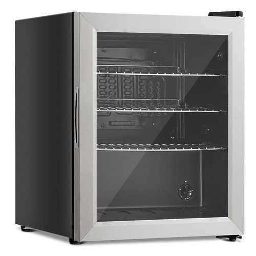 52-Can Beverage Refrigerator Cooler with Glass Door Stainless Steel