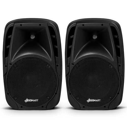 """Dual 10"""" 1600W Powered Bluetooth Mic Speaker Speakers"""
