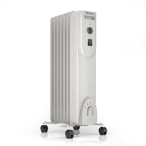 1500 W 7-Fin Portable Electric Oil Filled Radiator Heater with Adjustable Thermostat