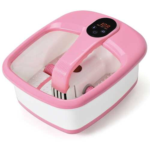 Portable Electric Automatic Roller Foot Bath Massager-Pink - Color: Pink