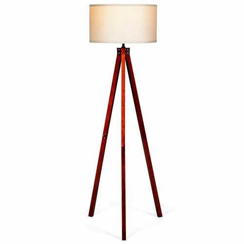Modern Wood Tripod Floor Lamp w/ Foot Switch