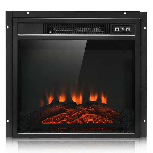 """18"""" Electric Fireplace Freestanding Wall-Mounted Heater with Adjustable LED Flame"""