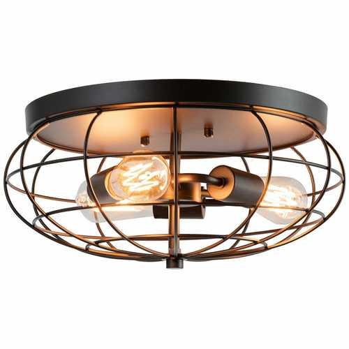 Semi Flush Mount Ceiling Light with Industrial Retro Design