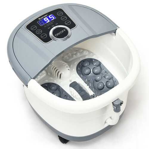 Portable Electric Foot Spa Bath Shiatsu Roller Motorized Massager-Gray