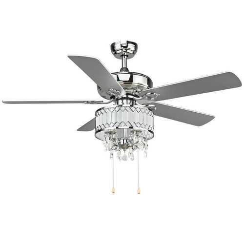 "52"" Crystal Ceiling Fan Lamp w/ 5 Reversible Blades"