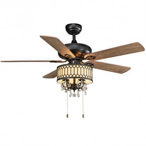 "52"" Crystal Ceiling Fan Lamp w/ 5 Reversible Blades-Black"