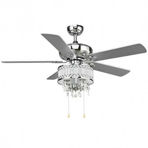 "52"" Crystal Ceiling Fan Lamp w/ 5 Reversible Blades-Silver"