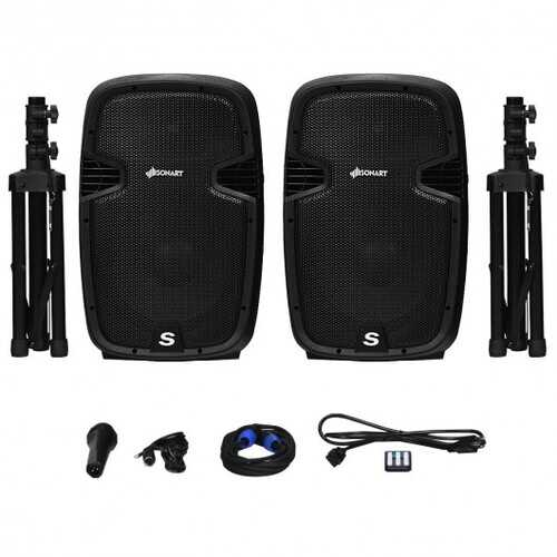"12"" Dual 2-Way 1600 W Powered PA Speaker System"