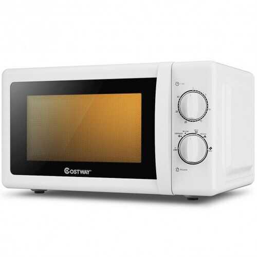 0.7 Cu. ft Retro Countertop Compact Microwave Oven-White
