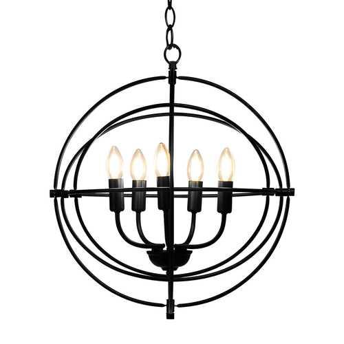 "20"" 5 Lights Metal Chandelier with Pivoting Interlocking Rings"