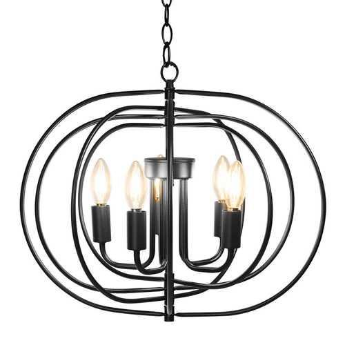 "16"" Folding Rotatable Chandelier 5 Lights Metal Ceiling Lamp"