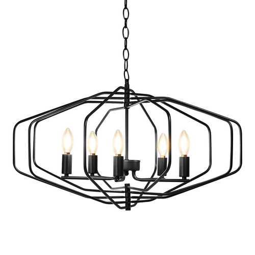 "28"" Folding Rotatable Chandelier 5 Lights Metal Ceiling Lamp"