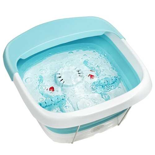 Foot Spa Bath Motorized Massager with Heat Red Light-Green - Color: Green